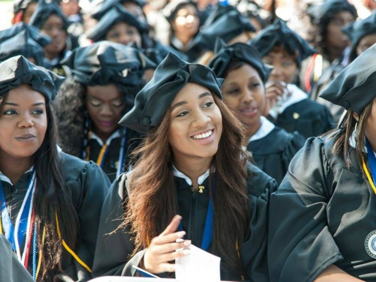 Graduates waiting for their diploma at Bennett College's graduation ceremony