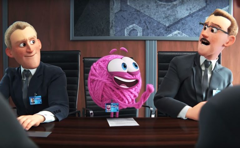 an animated pink ball of yarn talks to a man