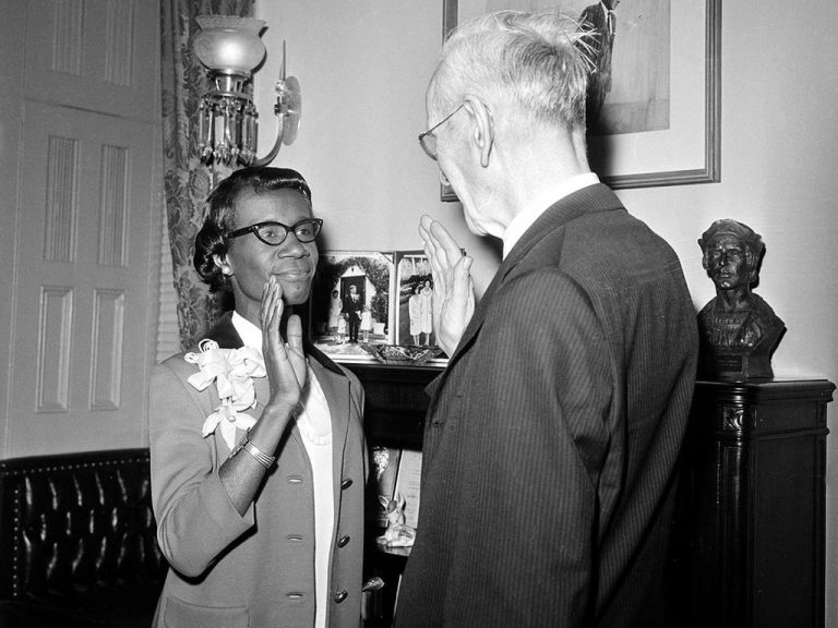 Shirley Chisholm being sworn in to congress