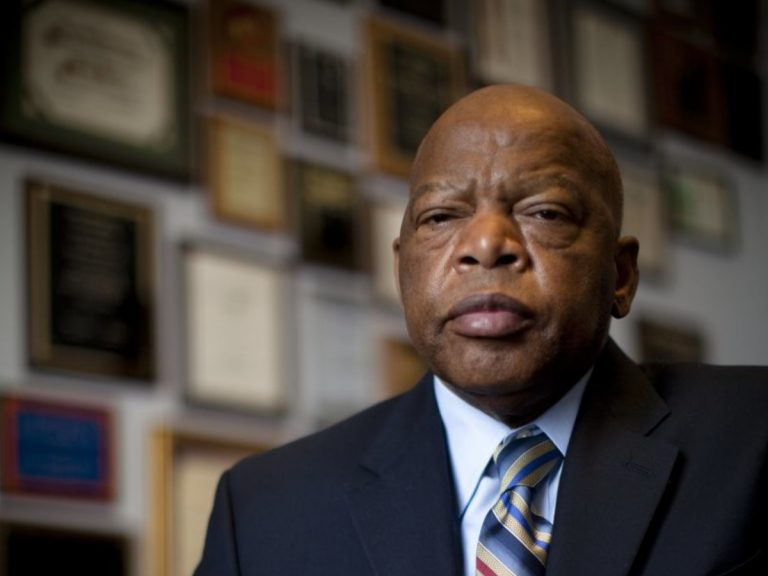 John Lewis looks at camera