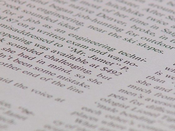 text on a page