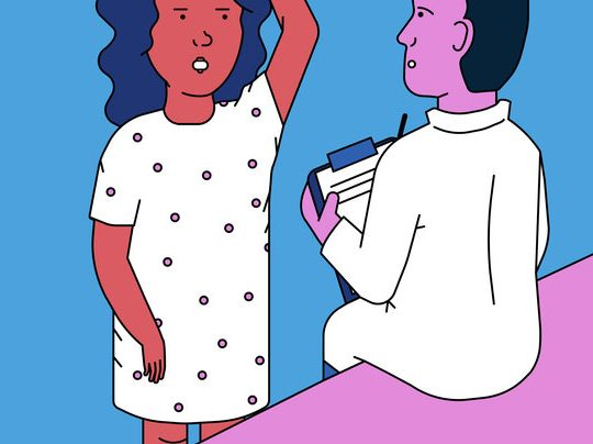 illistration of woman talking to her doctor