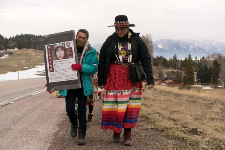 Marita Growing Thunder (right) and an un-named person walking across the Flathead Reservation to raise awareness of missing and murdered indiginous women, March 28, 2019.
