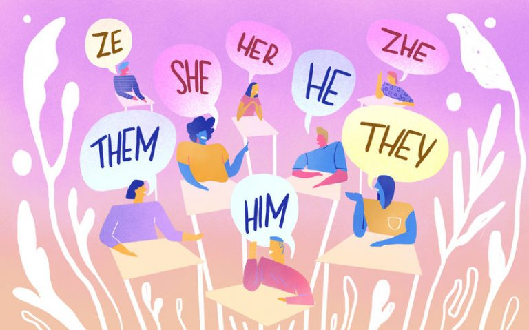 illustration of people saying different pronouns