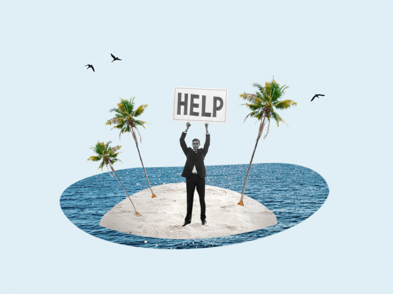 man on island holding help sign