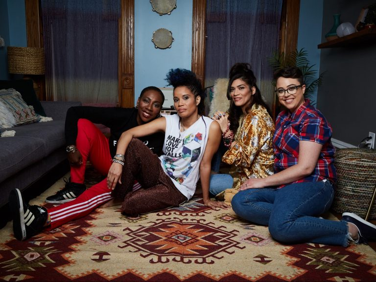 """MotherStruck"" stars Staceyann Chin, center, as herself, as she navigates an unconventional path to parenthood."