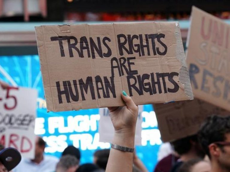"person holding ""Trans Rights are Human Rights"" sign"