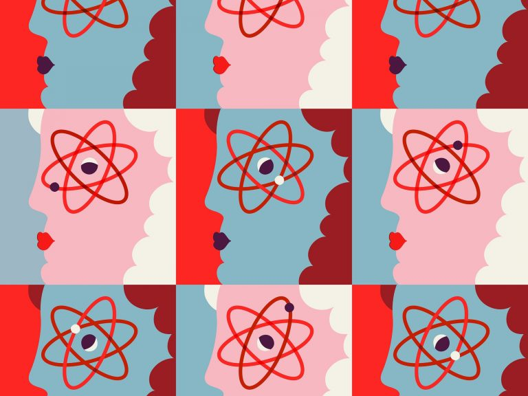 faces with the atom symbol