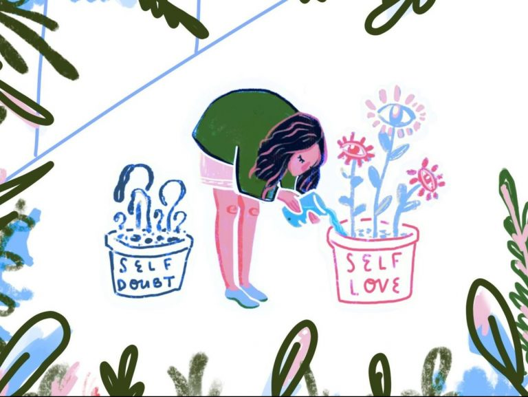 "woman watering plants in a pot that says ""self love"""