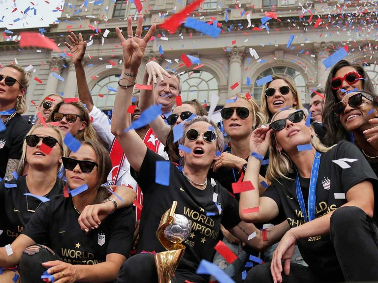 The U.S. women's soccer team celebrates at City Hall after a ticker tape parade on July 10, 2019 in New York.