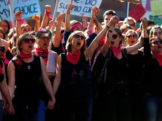 Women attend a protest against the World Congress of Families in Verona, Italy, in March