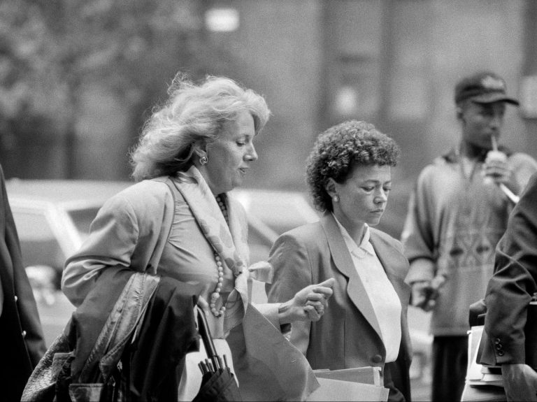 Elizabeth Lederer, left, the prosecutor in the trial of the Central Park Five in 1990, with Linda Fairstein, an assistant district attorney and chief of the sex crimes prosecution unit in Manhattan.