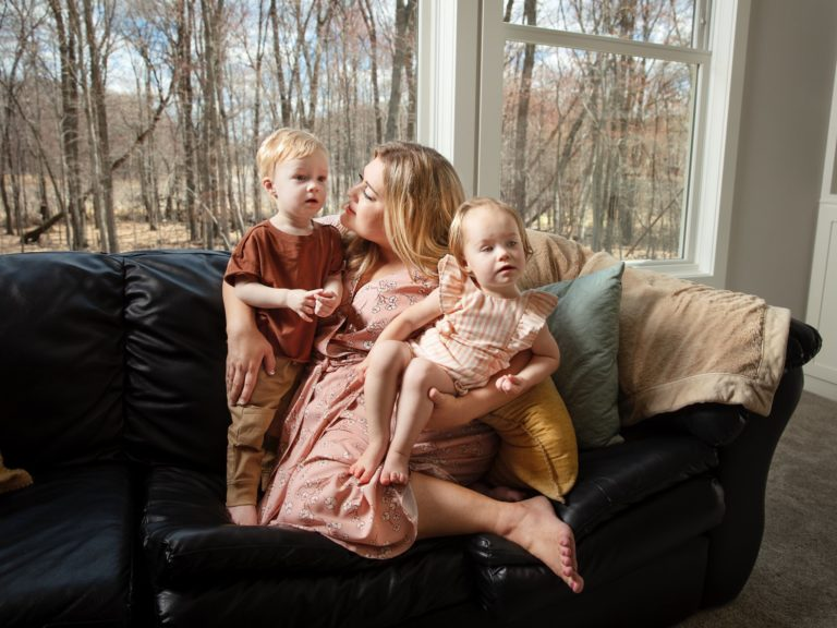 Chelsea Ritchie and her twins in Ham Lake, Minn.