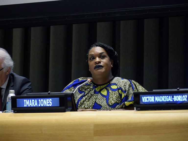 Journalist Imara Jones moderates the event on gender diversity and non-binary identities in New York on 15 July.