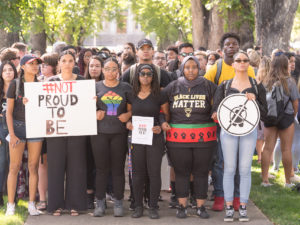Hundreds of students march during the 2019 Fall Address in response to racially biased incidents on campus.