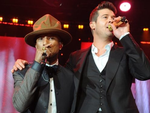 'It matters how it affects women' … Pharrell Williams and Robin Thicke perform at the Grammy awards pre-gala in 2014