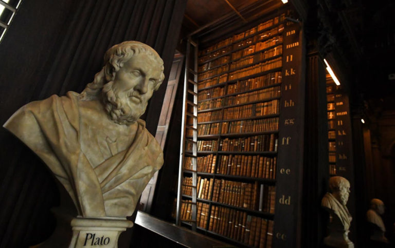 A bust of Plato in the Long Room of the old library that houses 200,000 of Trinity College's oldest books in Ireland on September 14, 2018.